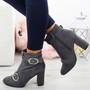 Finley Grey Block Heel Ankle Boots