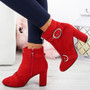 Finley Red Block Heel Ankle Boots