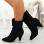 Dole Black Cone Heel Ankle Boots