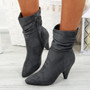Dole Grey Cone Heel Ankle Boots