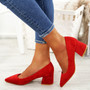 Nia Red Slip On Pumps