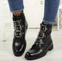 Leyga Black Pu Biker Ankle Boots