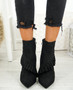 Seegra Black Ruffle Stiletto Ankle Boots