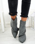 Seegra Grey Ruffle Stiletto Ankle Boots