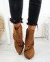 Seegra Camel Ruffle Stiletto Ankle Boots