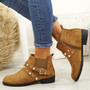 Mianna Camel Zip Ankle Boots