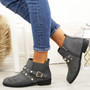 Mianna Grey Zip Ankle Boots