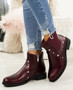 Liss Wine Studded Ankle Boots