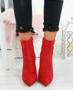 Amillie Red Studded Ankle Boots