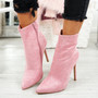 Amillie Pink Studded Ankle Boots