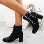 Faber Block Heel Black Ankle Boots