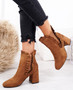 Amallie Camel Ruffle Ankle Boots