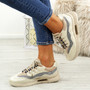Frally Beige Glitter Sneakers