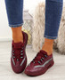Frally Wine Red Glitter Sneakers