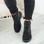 Noca Black Glitter Biker Ankle Boots