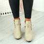 Figa Beige Cut Out Buckle Ankle Boots
