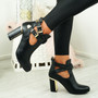 Figa Black Cut Out Buckle Ankle Boots
