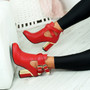 Figa Red Cut Out Buckle Ankle Boots