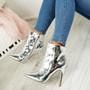 Pina Silver Mirror Stiletto Ankle Boots