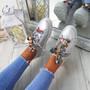 Brenda Silver Ribbon Plimsolls