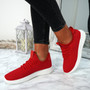 Ligia Red Lace Up Trainers