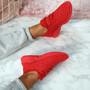 Sonia Red Quilted Trainers