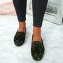 Ado Green / Leopard Fringe Ballerinas