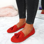 Ado Red Fringe Ballerinas