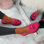 Erie Fuchsia Studded Fringe Ballerinas