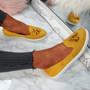 Erie Yellow Studded Fringe Ballerinas