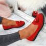 Erie Red Studded Fringe Ballerinas