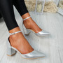 Canna Silver Ankle Strap Pumps