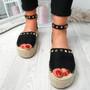 Orum Black Suede Flatform Sandals