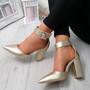Cherra Gold Block Heel Pumps
