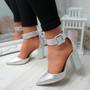 Cherra Silver Block Heel Pumps