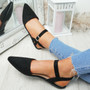 Tenna Black Ankle Strap Flat Ballerinas