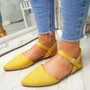 Tenna Yellow Ankle Strap Flat Ballerinas