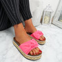 Cannya Fuchsia Bow Flatforms