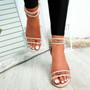 Vinna Beige Block Heel Sandals