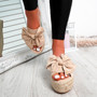 Clomy Beige Bow Espadrille Flatforms