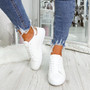 Ansy White Champagne Lace Up Trainers