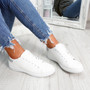 Ansy White Silver Lace Up Trainers