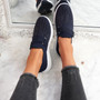 Giffe Navy Knit Studded Trainers