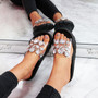 womens ladies rhinestone chunky flat sandals party women diamante peep toe casual summer shoes size uk 3 4 5 6 7 8