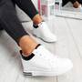 Pinna White Black Wedge Trainers