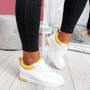Pinna White Yellow Wedge Trainers