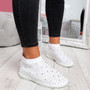 Jutty White Studded Sock Sneakers