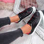 Miry Black Lace Up Trainers