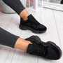 Lilla Black Lace Up Chunky Trainers