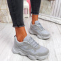 Lilla Grey Lace Up Chunky Trainers